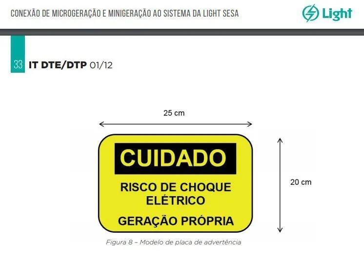 Placa Cuidado  Risco de Choque Elétrico Geração Própria Light - Tam 25x20 Alumínio