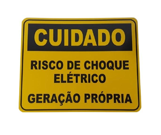 Placa Cuidado  Risco de Choque Elétrico Geração Própria Light - Tam 25x20 Alumínio c/ 10Un