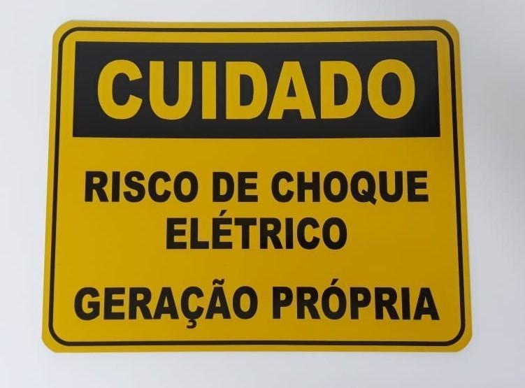 Placa Cuidado  Risco de Choque Elétrico Geração Própria Light - Tam 25x20 Alumínio c/ 20Un