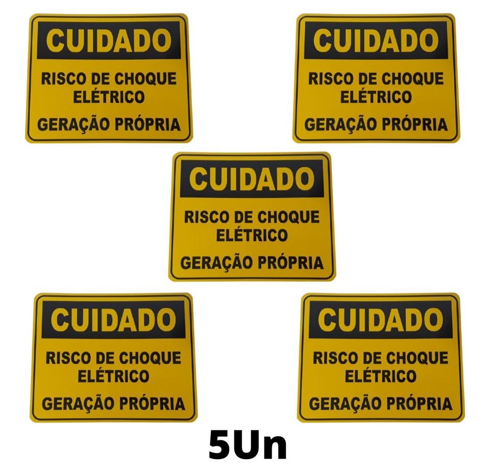 Placa Cuidado  Risco de Choque Elétrico Geração Própria Light - Tam 25x20 Alumínio c/ 5Un