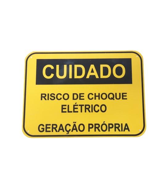 Placa Cuidado - RISCO DE CHOQUE ELÉTRICO – GERAÇÃO PRÓPRIA - Padrão Celesc, Enel - Tam 25x18 CA PVC/PS