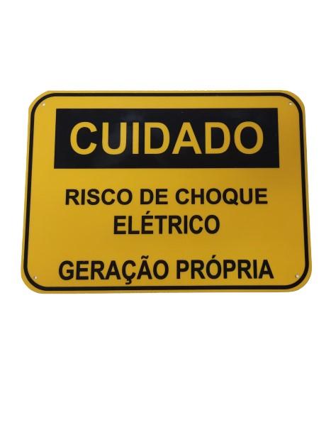 Placa Cuidado - RISCO DE CHOQUE ELÉTRICO – GERAÇÃO PRÓPRIA - Padrão Celesc, Enel - Tam 25x18 CA PVC/PS - 5un
