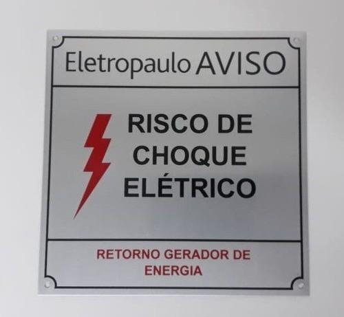 Placa Eletropaulo Aviso Risco De Choque Elétrico 15x15 Alumínio