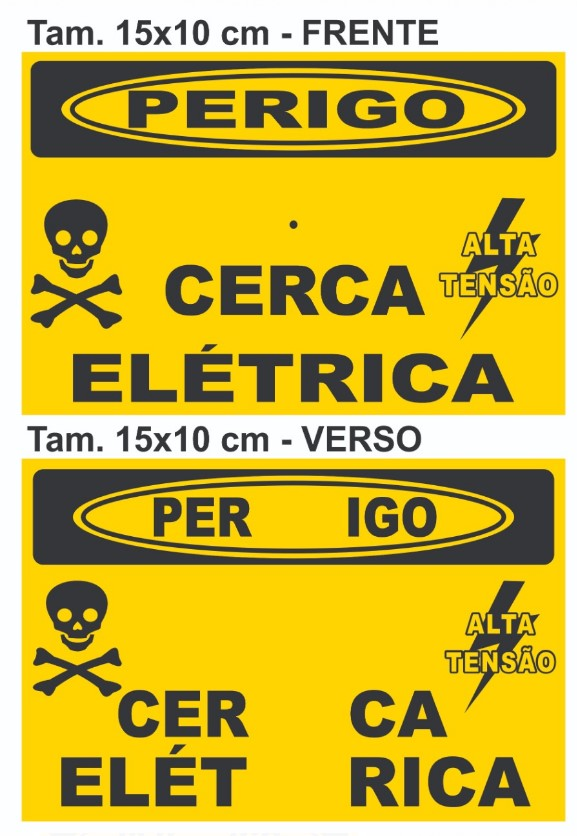 Placa Perigo Cerca Elétrica Alumínio Frente Verso Tam 15x10 - 10un