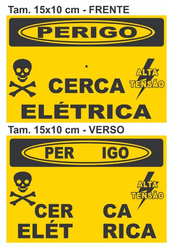 Placa Perigo Cerca Elétrica Alumínio Frente Verso Tam 15x10
