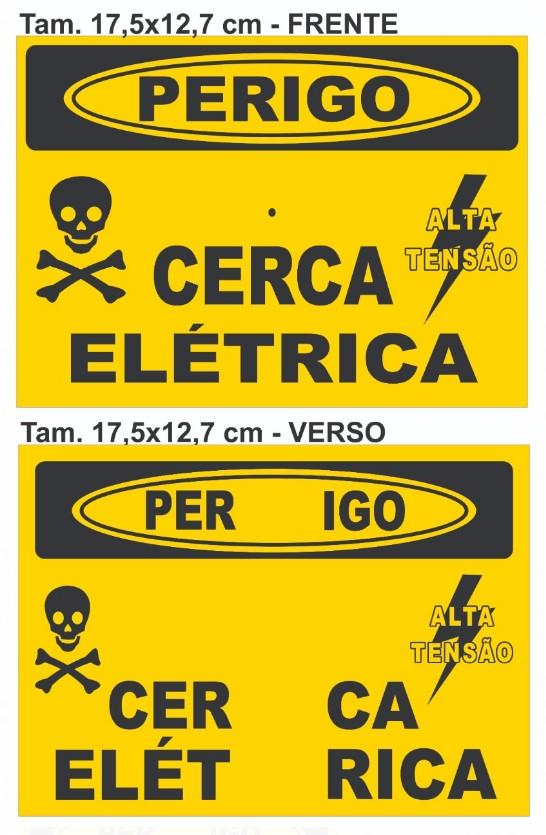 Placa Perigo Cerca Elétrica Alumínio Frente Verso Tam 17,5x12,7
