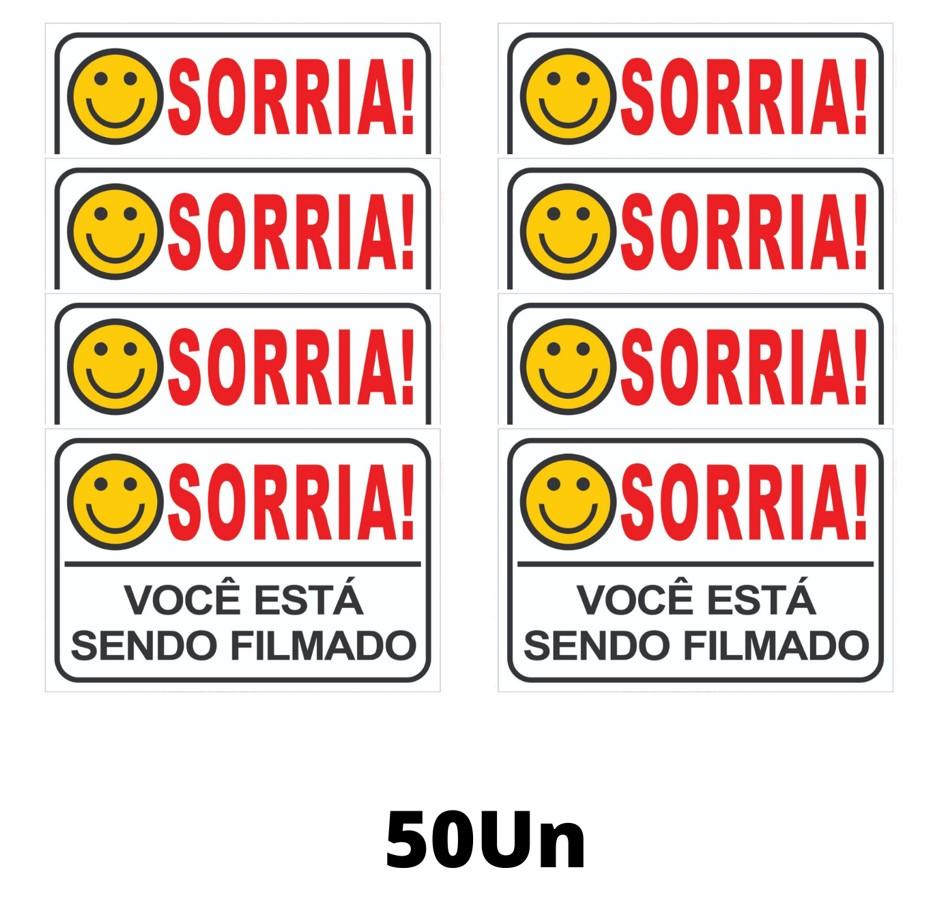 Placa Sorria Você Está Sendo Filmado Tam 15x10 - 50un