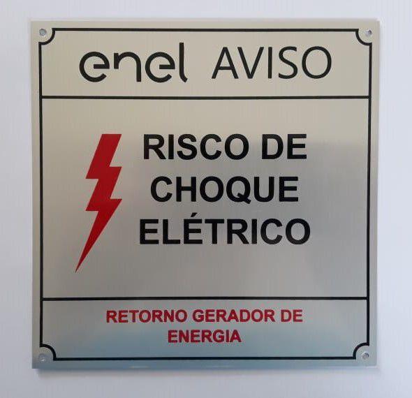 Placa Enel Aviso Risco De Choque Elétrico 15x15 Alumínio