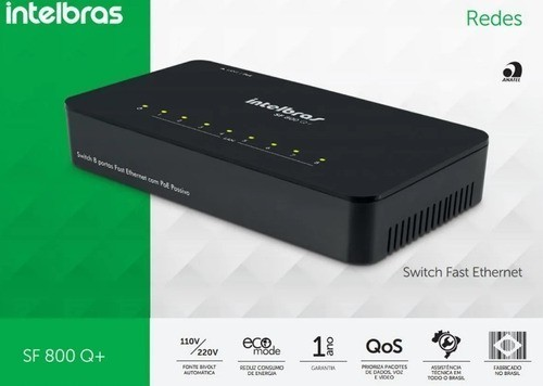 Switch 8 portas Fast Ethernet SF 800 Q+