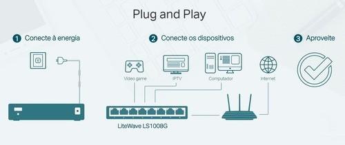 Switch 8 Portas TP Link LiteWave Gigabit 10/100/1000Mbps - LS1008G