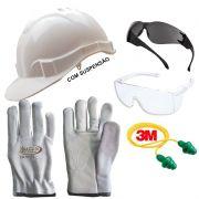 Kit Proteção Óculos + Capacete + Luva P/ Obras Construção