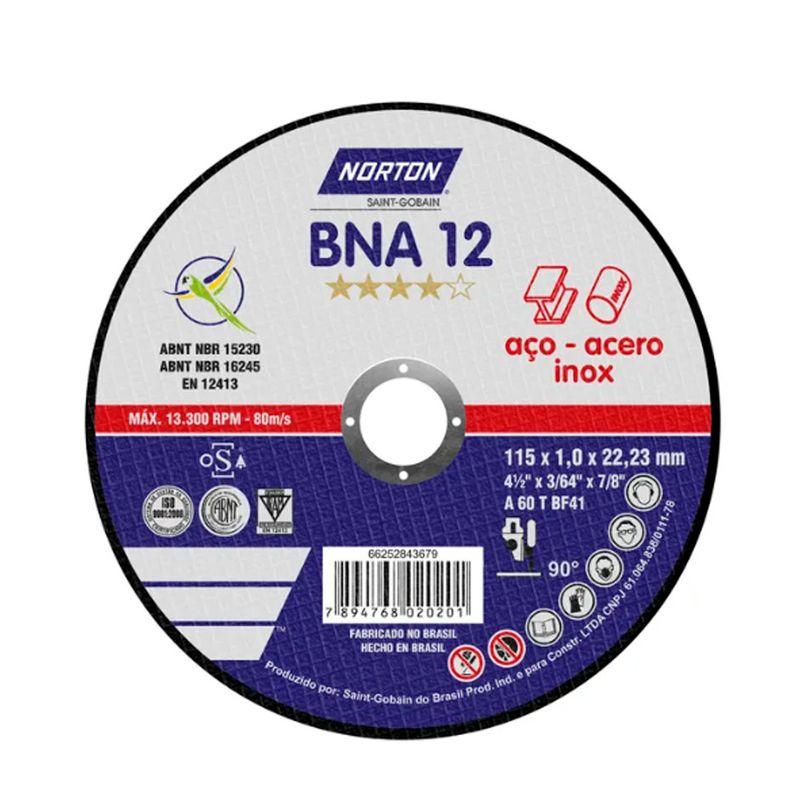 Disco De Corte Norton BNA 12 Aço/Inox 4.1/2 X 1,0 X 7/8 - Peça