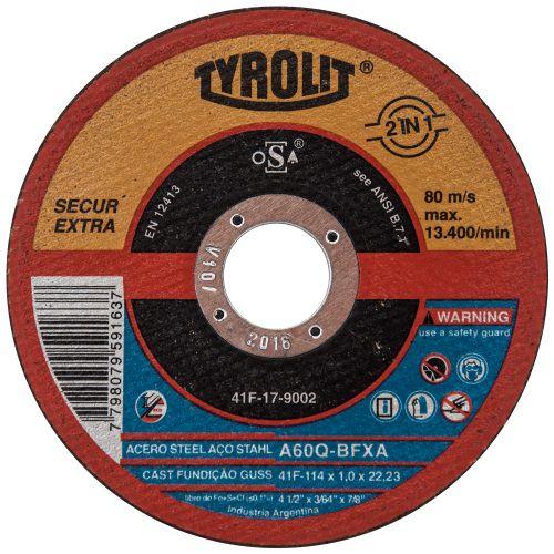 Disco De Corte Tyrolit A60-bfxa 115x1,0x22,23MM Premium Secur Extra