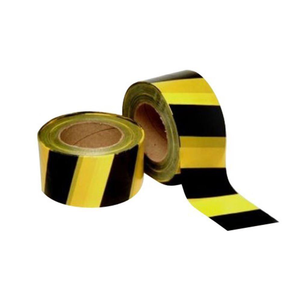 Fita Zebrada P/ Demarcação de Área Preta e Amarela - 7cm x 200M - Segmento