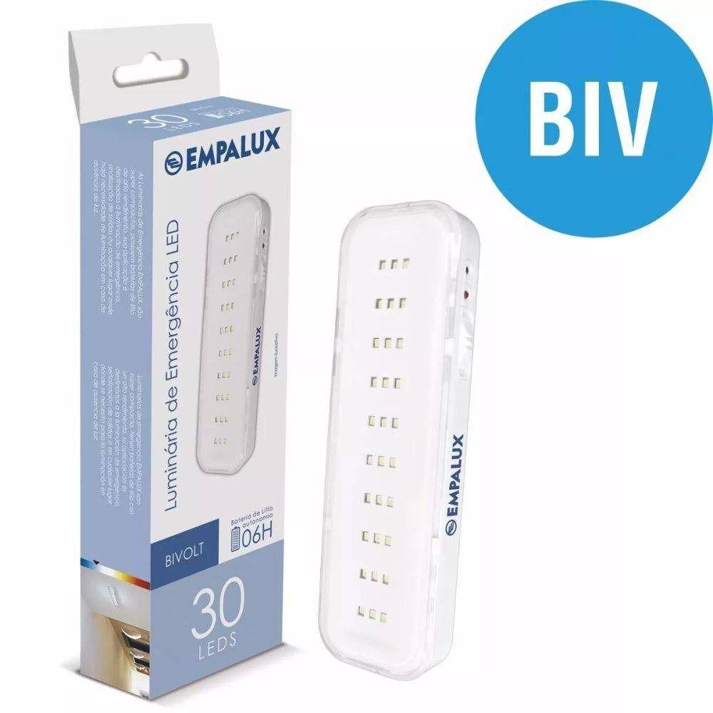 Iluminação de Emergência 2W Bivolt 30 LEDs Automática Empalux Branco