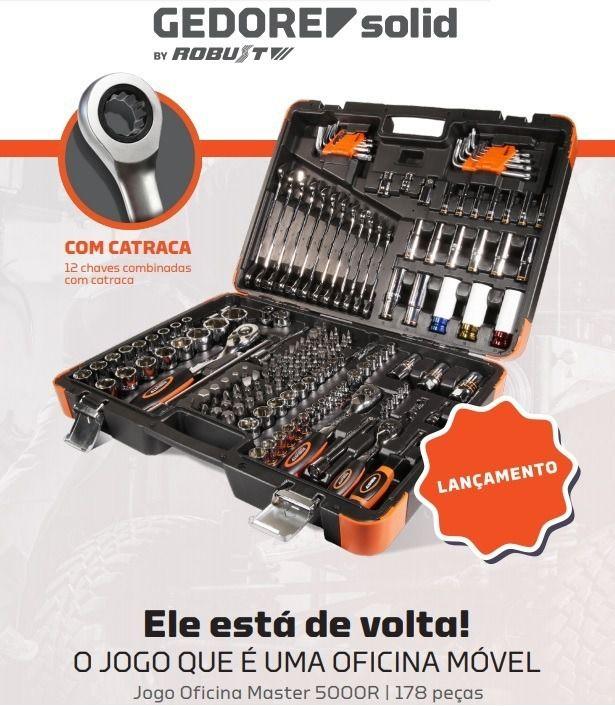 Jogo De Oficina Master 178 peças Robust Gedore Solid 5000r C/ Catraca