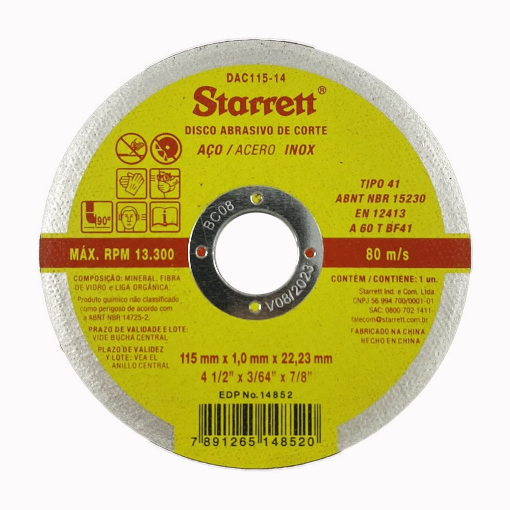 KIT 100 DISCOS ABRASIVO DE CORTE STARRETT 115X1,0X22,2MM DAC115-14