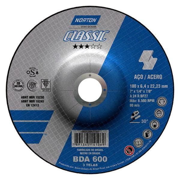 KIT 10 DISCOS DE DESBASTE A36R 180X6.4X22.23MM NOR-CLASSIC BDA600 NORTON