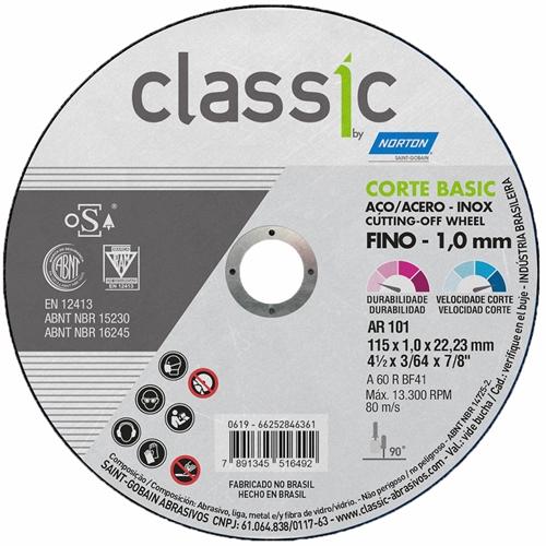 KIT 30 DISCOS DE CORTE CLASSIC BASIC 115 X 1.0 X 22.23 A60 AR101 NORTON