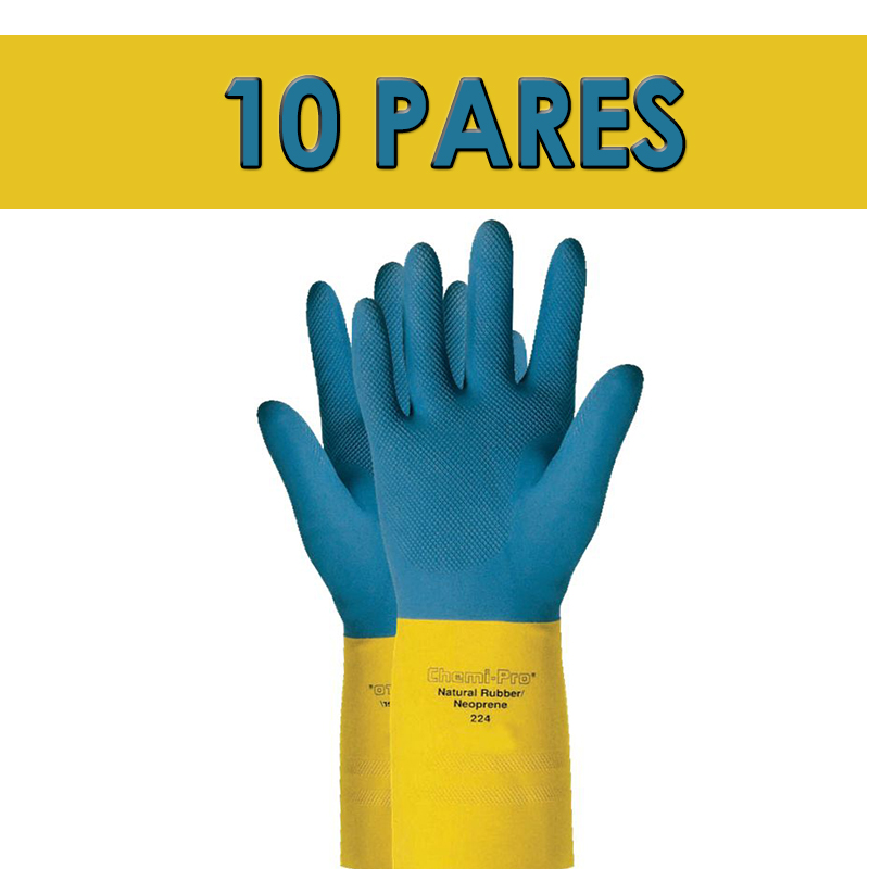 Kit com 10 Luva De Proteção Quimica Látex Ansell Chemi-Pro 224 - Par TAM 07