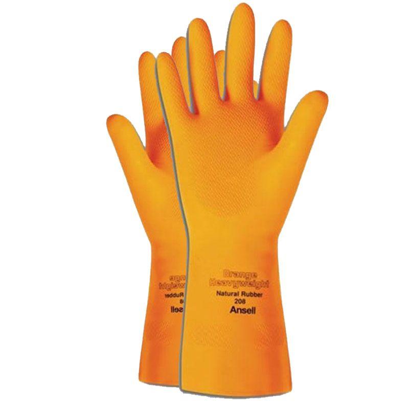 Luva De Proteção Quimica Látex Ansell Orange Heavyweight 208 - Par