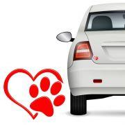 Adesivo Alto Relevo Patinha Coração Pet Vermelho 12 Unidades