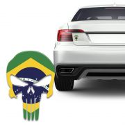 Adesivo Resinado Caveira O Justiceiro Bandeira Brasil Carro