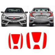 Emblema Civic G10 17/19 Aplique Vermelho Traseiro E Frontal