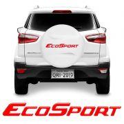 Emblema Ecosport Resinado Adesivo Estepe Refletivo Vermelho
