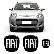 Kit 3 Adesivos Emblema Fiat Novo Palio Preto Black