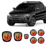Kit 7 Adesivos Emblemas Abarth Fiat Strada