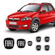 Kit 7 Adesivos Emblemas Fiat Preto Strada Resinados