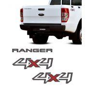 Kit Adesivos 4x4 Ranger Xl 2013/2016 Grafite + Emblema Tras.