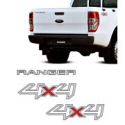 Kit Adesivos 4x4 Ranger XL 2013 A 2016 Prata + Emblema Tras.