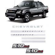 Kit Adesivos Faixas S10 Executive 4x4 Preta Turbo Eletronic