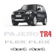 Kit Emblemas Pajero Tr4 Flex 4x4 Prata Adesivos Resinados