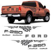 Kit Faixa Ford F-250 2004/2010 Adesivo Lateral /Traseiro Grafite