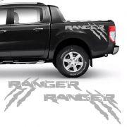 Kit Faixa Ford Ranger Garras 13/19 Adesivo Lateral Prata