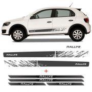 Kit Faixa Gol Rallye G6 Adesivo Grafite + Soleira Protetora