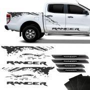 Kit Faixa Lateral Grafite Ranger 2013/19 + Soleira Protetora