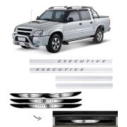 Kit Faixa Lateral S10 Executive + Soleira Com Black Over