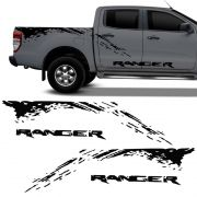 Kit Faixa Nova Ford Ranger 2013/2019 Adesivo Lateral Preto
