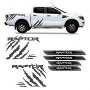 Kit Faixa Ranger Raptor Adesivo Grafite + Soleira Protetora