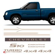 Kit Faixas S10 Executive 2007/08 Emblemas Cabine Simples Gm