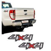 Par Adesivos Laterais 4x4 Ford Ranger 2013 14 15 16 Grafite