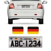 Par Bandeiras Alemanha Placa De Carro Moto Adesivo Resinado