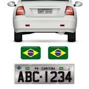 Par Bandeiras Brasil Placa De Carro Moto Adesivas Resinadas