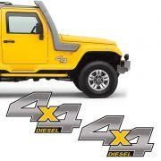 Par De Adesivos 4x4 Diesel Troller 2012/2013 Emblema Cromado