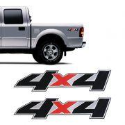 Par De Adesivos 4x4 Ford Ranger 2007 A 2009 Emblema Preto