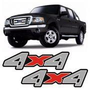 Par De Adesivos 4x4 Ford Ranger Cinza / Vermelho Emblema